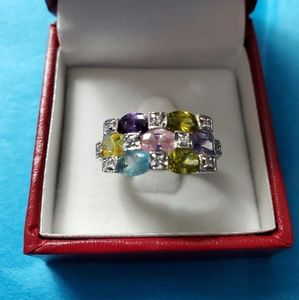 Silver ring with multi color stones size 7
